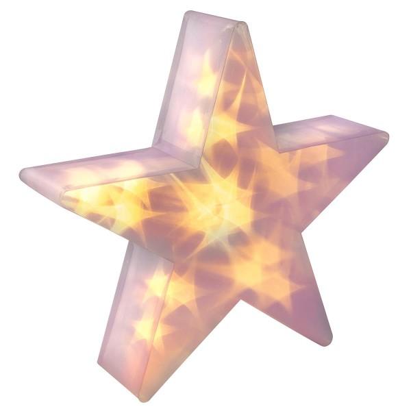 PVC Stern 3 D Hologramm Effekt Weihnachtsstern 35 cm mit Timer 20 LED warmweiss