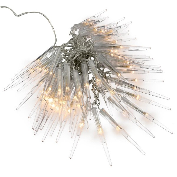 60 LED Eiszapfenkette Lichterkette Eiszapfen warm weiß Trafo Timer transparentes Kabel