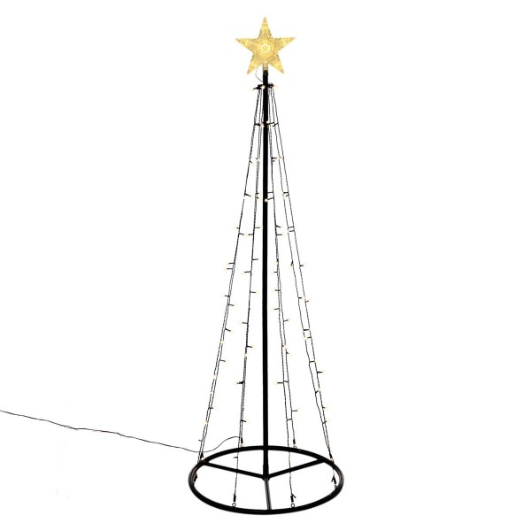 Lichtpyramide 106 LED warmweiß 180 cm Baum mit Stern Trafo Timer Xmas-Deko