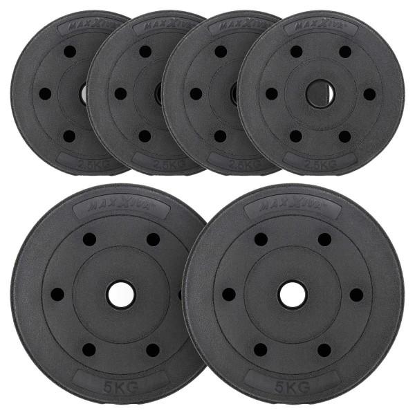 MAXXIVA Hantelscheiben Set Zement 20 kg 6 Gewichte schwarz Gewichtsscheiben