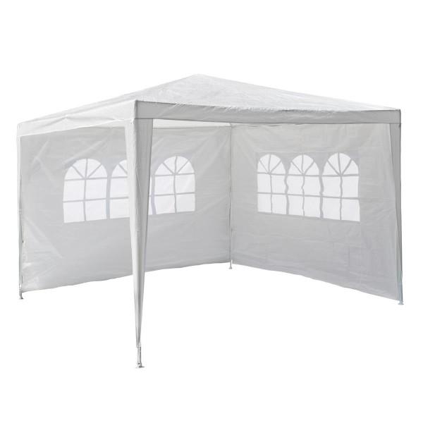 Pavillon 3x3 m in weiß PE Plane 2 Seitenteile Partyzelt Gartenzelt Sonnenschutz