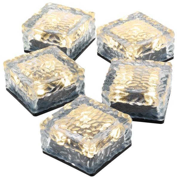 5er Set Solar Glasstein 4 LED weiß 10x10x5 cm Dekoleuchte warmweiß Bodenleuchte