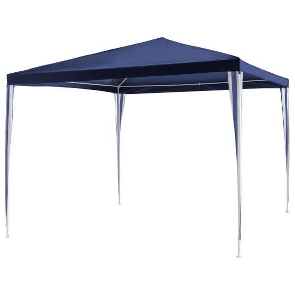 Pavillon 3x3 m in blau PE Plane Partyzelt Gartenzelt Sonnenschutz Stahlgestell