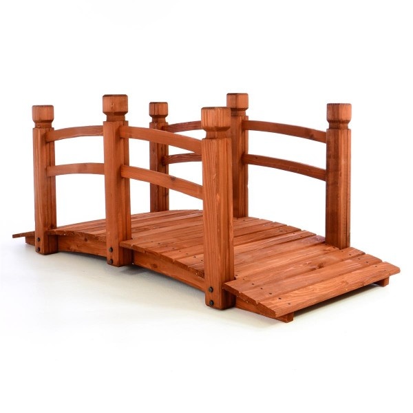 Holzbrücke Teichbrücke mit Geländer rot braun 150x67x65 cm Gartenbrücke Holzsteg