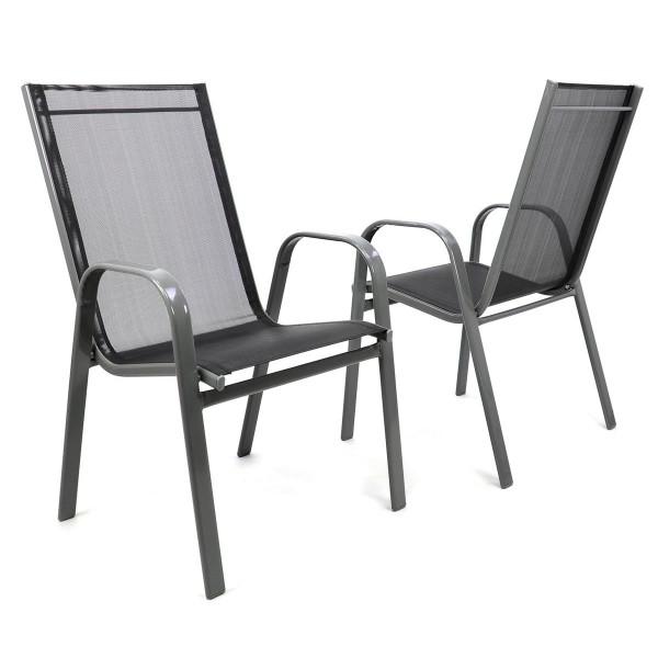 2er Set Gartenstuhl Stapelstuhl Stapelsessel Rahmen dunkelgrau Textilene schwarz