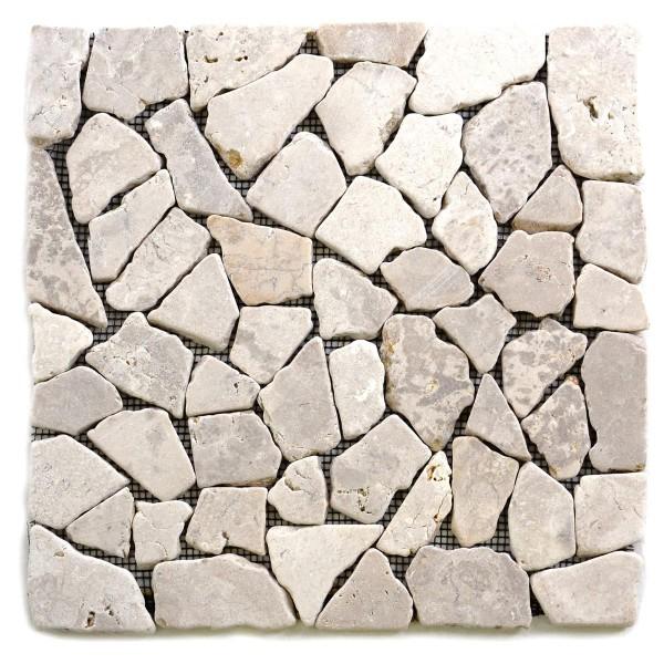 DIVERO 1 Fliesenmatte Naturstein Mosaik Marmor cremeweiß 30 x 30 cm