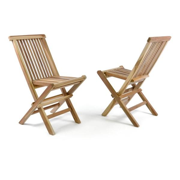 DIVERO 2er Set Kinderstuhl Garten-Stuhl Teak-Holz klappbar massiv unbehandelt