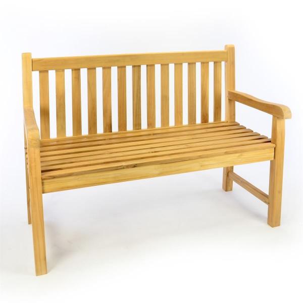 DIVERO 2-Sitzer Gartenbank Parkbank hochwertig Teak Holz A++ natur 120cm
