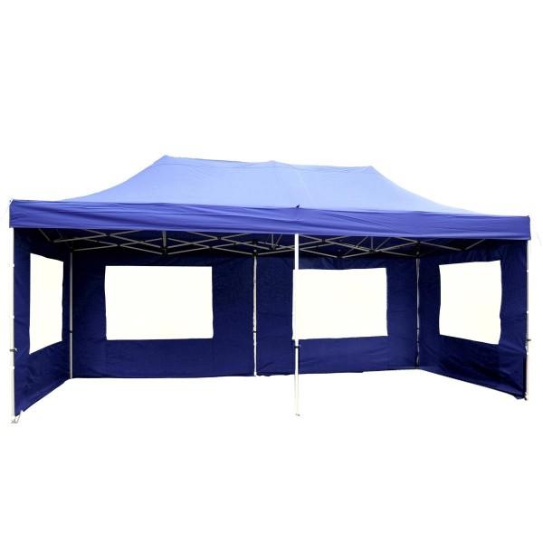 PROFI Faltpavillon Partyzelt 3x6 m blau Seitenteile Dach wasserdicht 270 g/m²