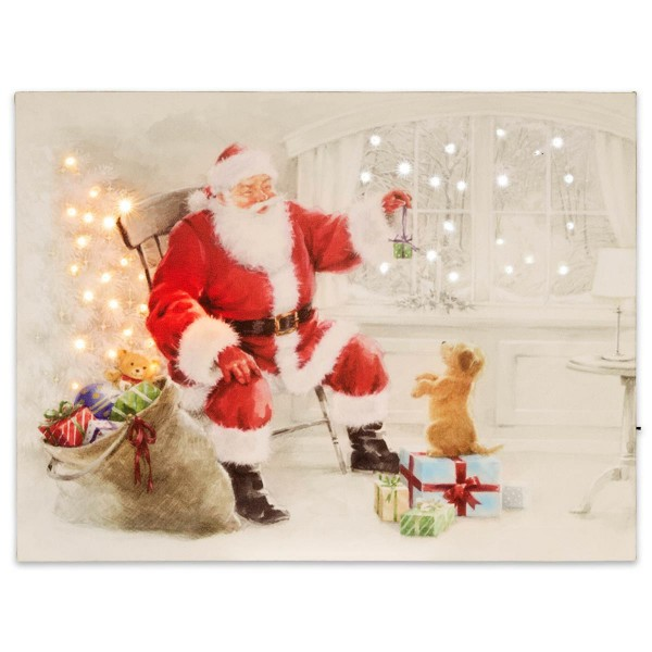 Wandbild mit LED Kunstdruck Beleuchtung Weihnachtsmann 30x40 cm Timer Batterie