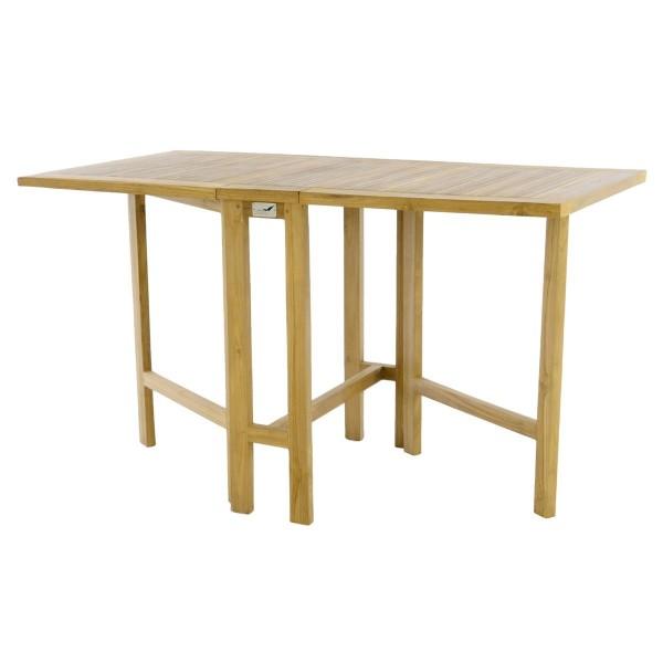 DIVERO Balkontisch Gartentisch Klapptisch hochwertig Teak Holz natur 130x65cm