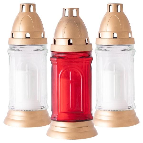 3er Set Glas Grablampe rot weiß 22x9 cm Friedhofskerze Grabkerze 140h