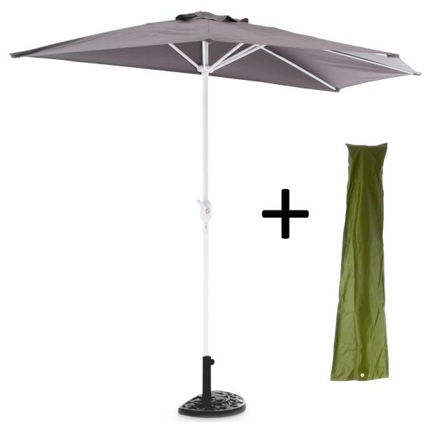Komplett-Set Balkon Sonnenschirm grau halbrund Schirmständer + Schirmschutzhülle