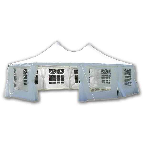 DELUXE Zelt Hochwertiges Festzelt Pavillon Partytzelt 8,9x6,5m weiß Stahlgestell
