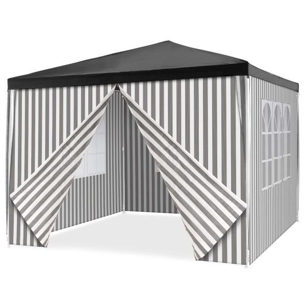 Pavillon 3x3 m in anthrazit PE Plane 4 Seitenteile Partyzelt Sonnenschutz Garten