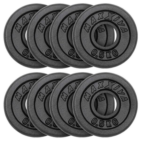 MAXXIVA Hantelscheiben 8er Set Gewichtsplatte je 0,5 kg Gusseisen schwarz 4 kg