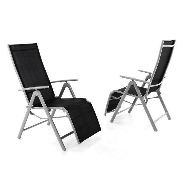 2er Set Gartenliege Sonnenliege Liegestuhl Relaxliege Garten schwarz grau