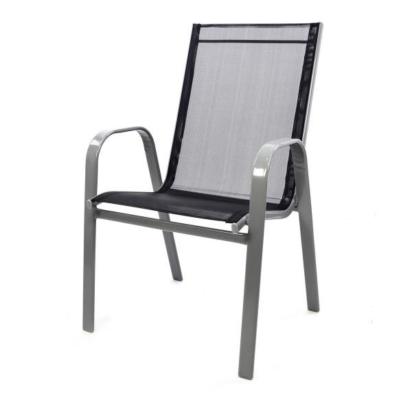 Gartenstuhl Stapelstuhl Stapelsessel Hochlehner Rahmen grau Textilene schwarz