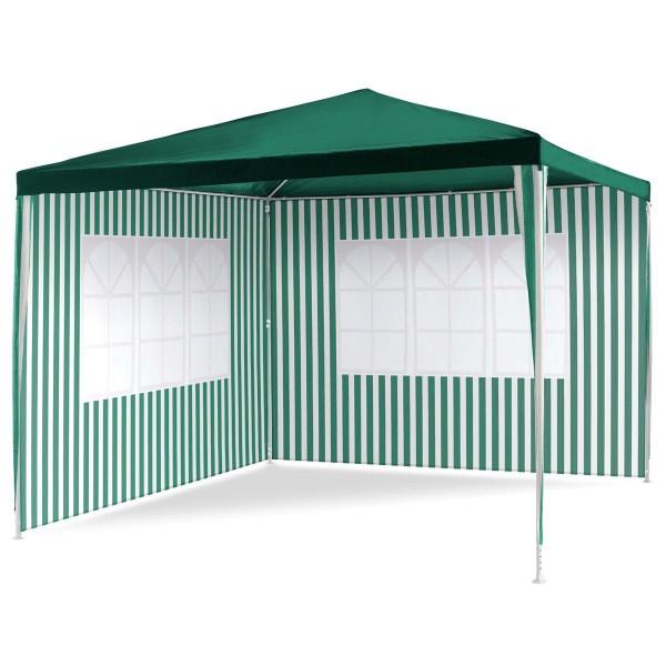 Pavillon 3x3 m in grün weiß PE Plane 2 Seitenteile Partyzelt Gartenzelt Zelt