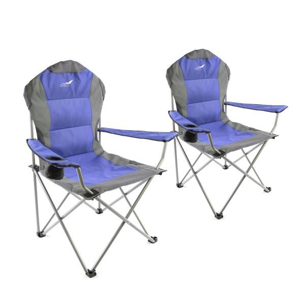 Divero 2er Set Deluxe Campingstuhl blau grau Faltstuhl Angelstuhl gepolstert