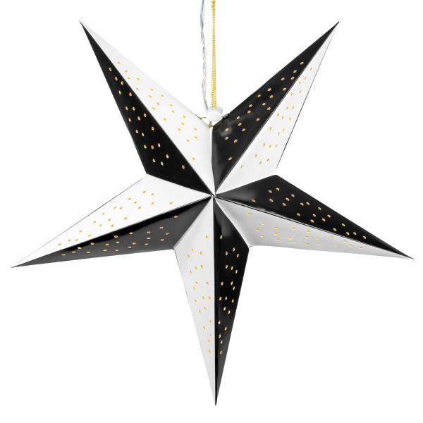 Papierstern 3D 10 LED schwarz weiß Weihnachtsstern Faltstern Batterie mit Timer