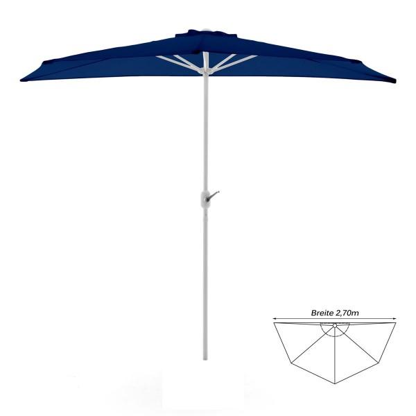 Balkon-Sonnenschirm blau halbrund Gartenschirm Sonnenschutz 2,7m mit Kurbel