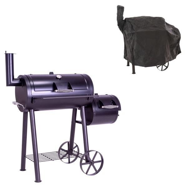 Smoker BBQ Grill Grillwagen Holzkohlegrill XL 28 kg 120 x 60 cm mit Schutzhülle