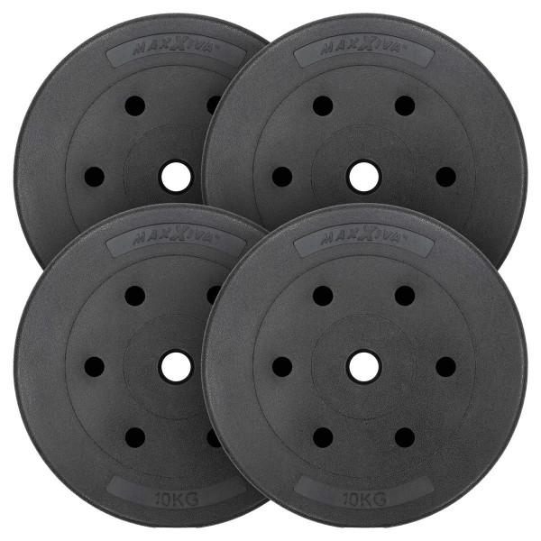 MAXXIVA Hantelscheiben Set Zement 4x10kg Gewichte Schwarz Gewichtsscheiben