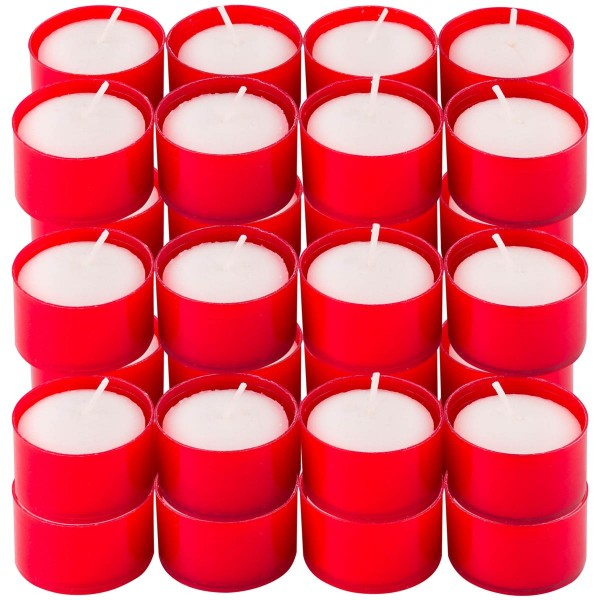 48er Set Teelichter Grablicht 5B Kunsstoffhülle rot 3x5 cm Grabkerzen Dekoration