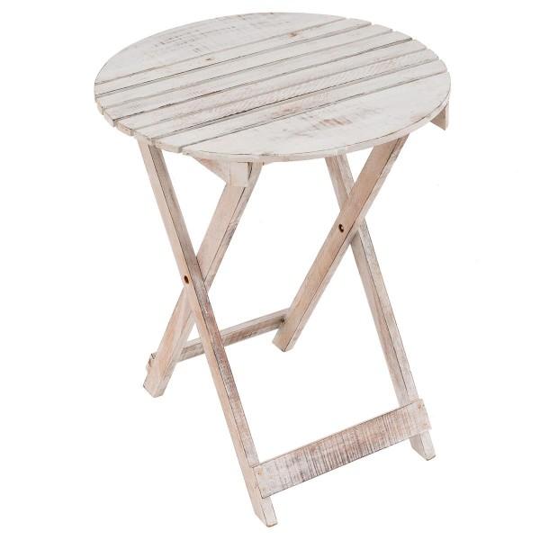DIVERO Klapptisch Gartentisch Beistelltisch klappbar Holz White Wash rund Ø 50cm