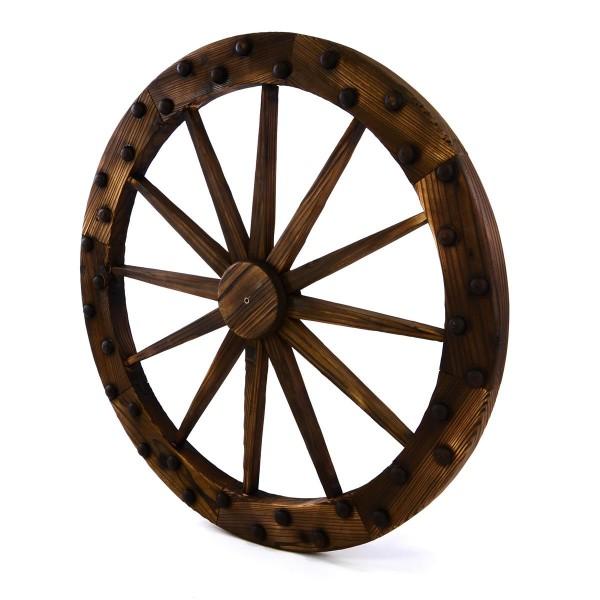 Holzrad Wagenrad mit Nieten 90 cm Farbe braun Dekorad Speichenrad Ladendeko