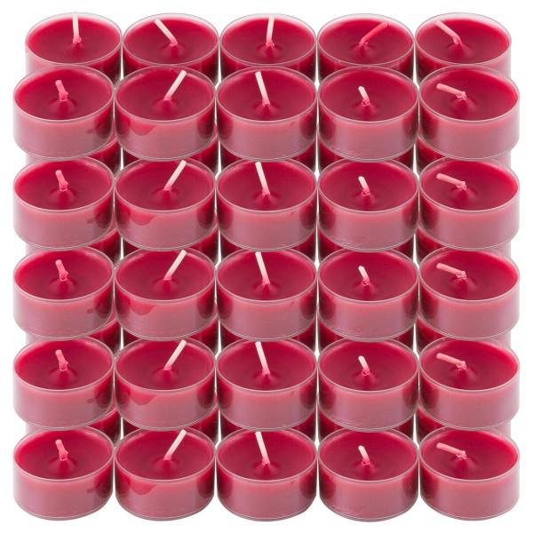 50er Set Teelichter PC Cup-Lichter bordeaux Brenndauer ca. 4h Größe 2x3,5 cm