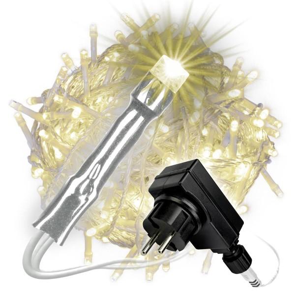 400er LED Lichterkette warm weiß Aussen Kabel transparent Weihnachtsbeleuchtung