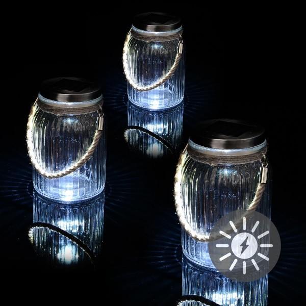 Solarglas 3er Set je 3 LED weiß mit Aufhänger Glas Gartenbeleuchtung