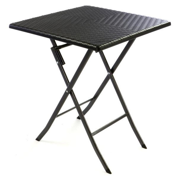 Tisch in Rattan-Optik Balkontisch Gartentisch 75 x 61 x 61 cm klappbar schwarz