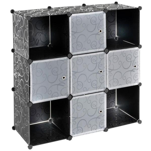 Steckregal schwarz 108x110x37cm mit Ablagefächern Türen DIY erweiterbar