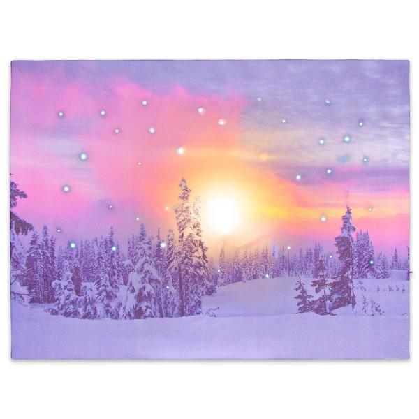 Wandbild mit LED Kunstdruck Beleuchtung Dämmerung Winter 30x40 cm Timer