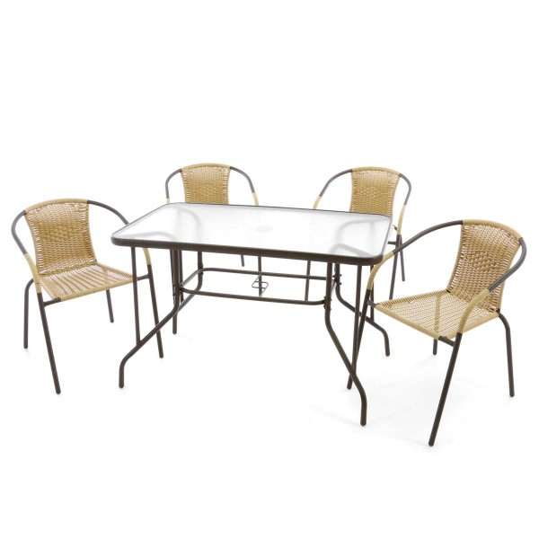 5er Bistroset Garnitur Sitzgruppe Gartengarnitur Glastisch eckig beige