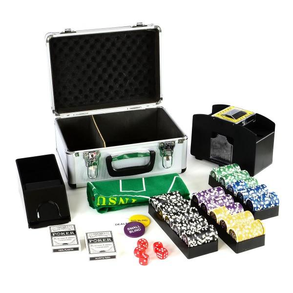 Pokerkoffer Deluxe Pokerset mit 300 Laser Chips abgerundet Zubehör Kartenmischer