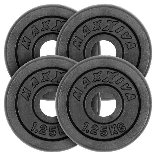 MAXXIVA Hantelscheiben 4er Set Gewichtsplatte je 1,25 kg Gusseisen schwarz 5 kg