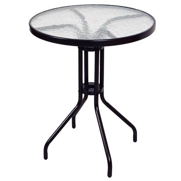 Bistrotisch mit Glasplatte und Schirmloch Glastisch Gartentisch Terrassentisch