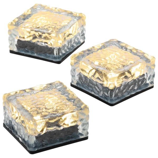 3er Set Solar Glasstein 4 LED weiß 10x10x5 cm Dekoleuchte warmweiß Bodenleuchte