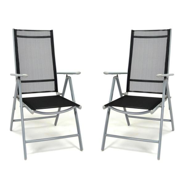 2er Set Klappstuhl schwarz Aluminium Gartenstuhl Balkonstuhl Rahmen hellgrau