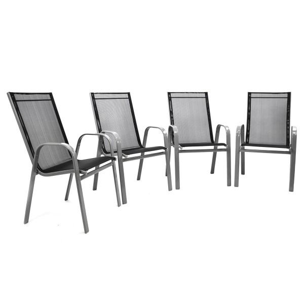 4er Set Gartenstuhl Stapelstuhl Hochlehner - Rahmen grau - Textilene schwarz
