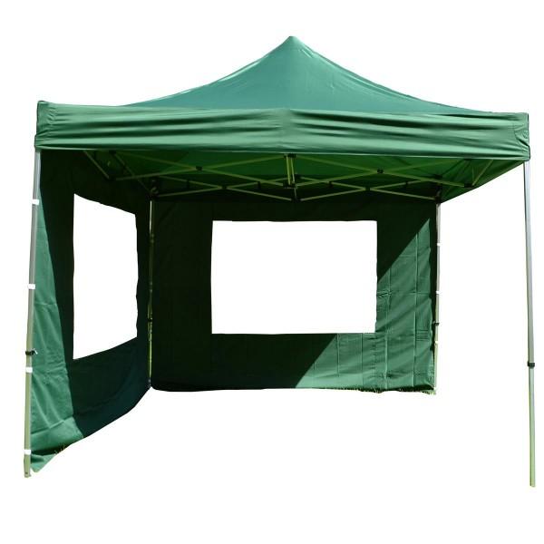 PROFI Falt Pavillon Partyzelt mit 2 Seitenteilen 3x3m grün wasserdichtes Dach