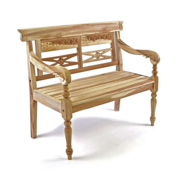 DIVERO 2-Sitzer Kinderbank Gartenbank antik hochwertig Teak Holz natur 80cm