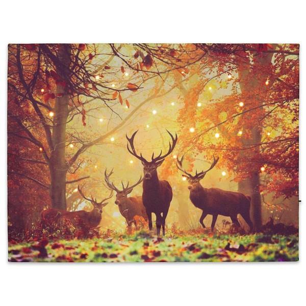 Wandbild mit LED Kunstdruck mit Beleuchtung Hirsch 30x40 cm Timer Batterie
