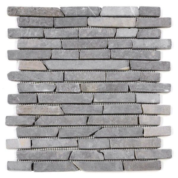 DIVERO 1 Fliesenmatte Naturstein Stäbchen Mosaik aus Marmor grau 29x32cm
