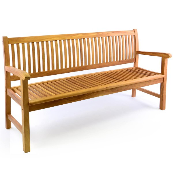 DIVERO 3-Sitzer Gartenbank Parkbank hochwertig Teak Holz behandelt 180cm