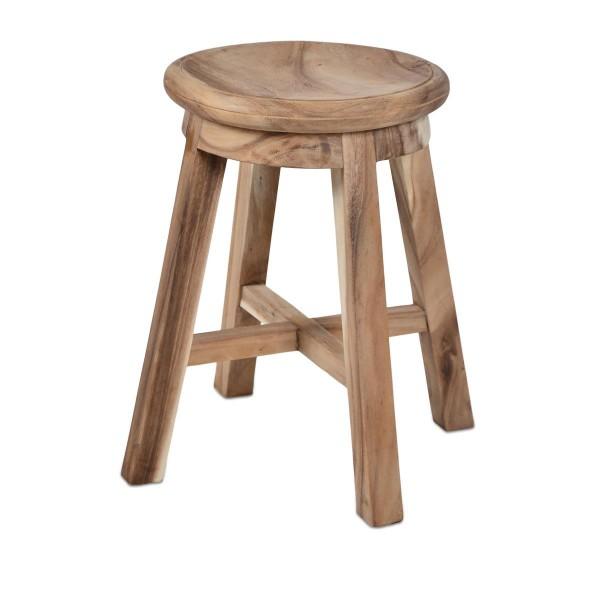 DIVERO Hocker Suar Holz Sitzhocker Holzhocker massiv unbehandelt Handarbeit